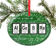 algebra math periodic table of elements glass ornament