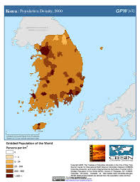 Map Of South Korea Maps Gridded Population Of The World Gpw V3 Sedac