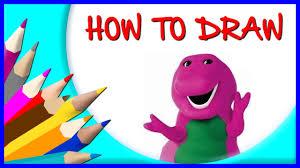 draw barney cartoon character mascot character