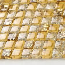 Glass Tile Sheets Ice Crack Square Mosaic Metal Plated L - Tile sheets for kitchen backsplash