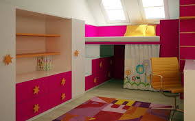 colorfully cheerful pink attic bedroom in combination with yellow