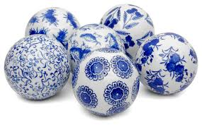 4 blue and white decorative porcelain balls 6 set