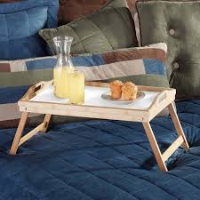 home u0026 loft bamboo folding breakfast in bed trays with handles 2