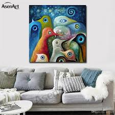 colorful abstract birds modernism oil painting printed on canvas