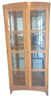 vintage used cabinets chairish ethan allen transitional lighted maple curio cabinet