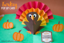 turkey up diy thanksgiving turkey pop up card artsy craftsy