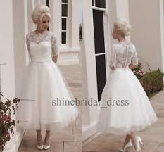 tea length short sleeve lace a line wedding dresses bridal gowns