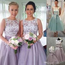 lavender bridesmaids dresses 2016 lace appliques bridesmaid dresses tea length sheer