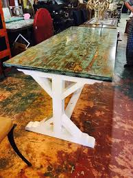 trestle base dining table turquoise distressed 35x84 trestle base dining table sarasota