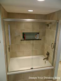 small bathroom shower ideas accent tile higher on wall compliment