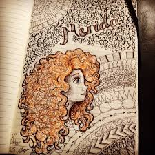 disney pixar u0027s brave merida drawing zentangle background