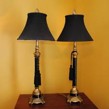 federal style black and gold tone wood table lamps ebth