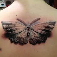 beautiful 3d black and grey butterfly tattoo design on back
