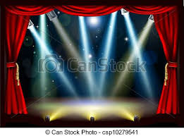 Stage With Curtains Vector Of Theatre Stage With Curtains And Audience Waiting