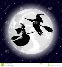 the background of halloween two witches on a background of the full moon on halloween night
