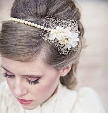 wedding tiara wedding hair vintage pearl headband or wedding tiara