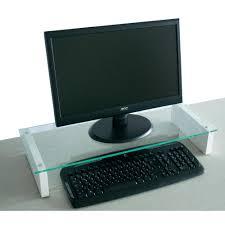 rehausseur ordinateur bureau support pc vcm pocasa verre blanc sur le site conrad 398806