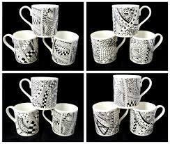bone china mugs with black and white zentangle design designs