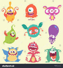 cute cartoon monster alien characters icons stock vector 461922556