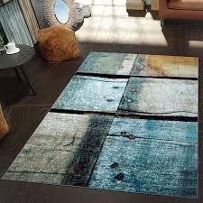 Schlafzimmer In Blau Beige Moderner Teppich Wohnzimmer Holz Rost Optik Natur Design In Blau