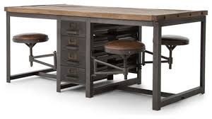 Drafting Table And Desk Rupert Industrial Architect Work Table Desk With Attached Seating