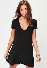 black dress uk black sleeve v neck swing dress missguided