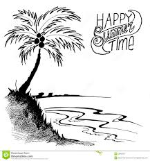 sketch of a beach with palm tree stock vector image 53800051