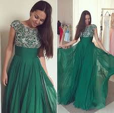 dark green evening dresses short sleeve beaded 2017 piping scoop