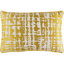 Modern Abstract Check Gold Yellow Decorative Pillow