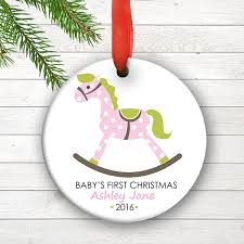 First Christmas Personalized Ornaments - personalized baby u0027s first christmas ornament pink rocking horse