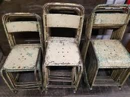 Vintage Bistro Chairs Stack Of 10 Ten Antique Vintage Bistro Chairs Tolix Style Ebay