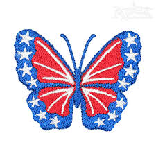 usa flag butterfly embroidery design