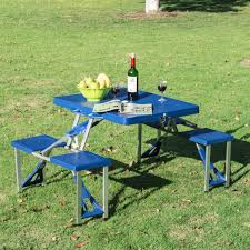 Portable Folding Picnic Table Outsunny Portable Folding Picnic Table Blue Aosom