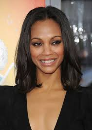 zoe saldana rocks a polished medium straight cut celebrity