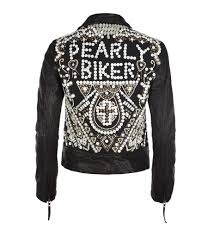 Pretty Badass Pearly Queen Leather Biker Jacket Women Leather