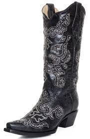 womens boots black corral womens inlay snip toe cowboy boots black