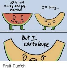 Funny Cartoon Meme - let s run away and get in sorr married but l cantaloupe fruit pun