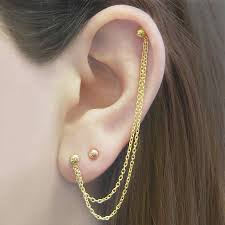 earring with chain to cartilage chain yellow gold drop earrings by otis jaxon silver