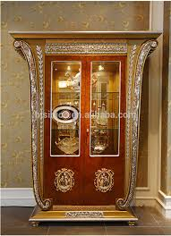 Antique Brass Display Cabinet Luxury French Baroque Style Living Room Single Door Display