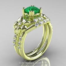Engagement Rings And Wedding Band Sets by Nature Inspired 14k Green Gold 1 0 Ct Emerald Diamond Leaf And