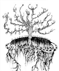 a drawing of a reimagining of yggdrasil the tree of norse