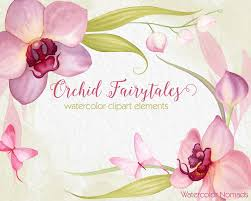 orchid flower clipart watercolor clipart hand painted wedding