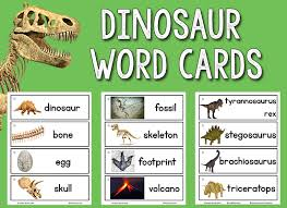 words cards dinosaur picture word cards prekinders