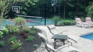Backyard Pool And Basketball Court Naturescape Kingston Ma Landscape And Hardscape Portfolio