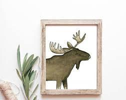 moose watercolor art etsy