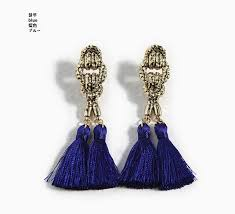 fashion earrings idealway vintage style bronze knot blue black white thread tassels