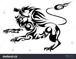 black cutout tribal lion tattoo vector stock vector 613604423
