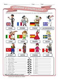 Esl Vocabulary Worksheets Nationalities Esl Worksheets Of The Day Pinterest English