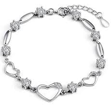 silver crystal heart bracelet images Sterling silver bracelet women heart hand chain jpg