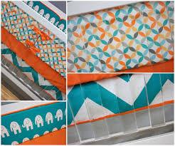 Bedding Nursery Sets by Crib Bedding Boy Turquoise Orange Aqua And Gray Baby